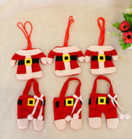 Wholesale price Cute Christmas Cutlery Holder Set Clothes Trousers Shape Knife Fork Spoon Portable Storage Bag Covers Tableware Xmas Decorat