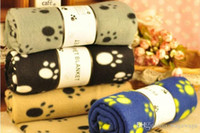 Wholesale Pet Blanket Paw Prints dog cat soft warm bed cover breathable mat both sides flannelette bear claw