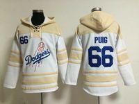 Wholesale Dodgers Yasiel Puig Lace Up Pullover Hooded Sweatshirt Los Angeles Sweater Warmth Baseball Jacket Winter Baseball Wear Hoodies for Men