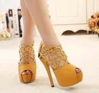 Cheap Rhinestone hollow-out peep toe heels shoes women club ball gown size 35-40, 2015 women club ball gown size 35-40