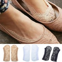 Wholesale 12 pairs Summer Cool Low Cut Invisible Antiskid Slippers Shallow Mouth Thin Lace Socks women Hot Fashion Cheap Free Ship