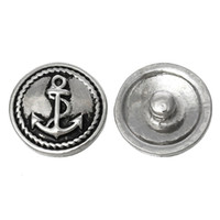 Quilt Accessories antique quilts - Fashion Snap Jewelry Button Round Antique Silver Fit Bracelets Anchor Pattern mm Dia Knob Size mm new