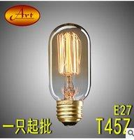 Wholesale The bulb T45 straight wire RETRO art American industrial bar creative incandescent bulb E27