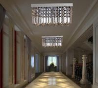 aisle light - Modern k9 rectangle LED crystal Chandelier balcony lamp aisle lights ceiling light pendant lamps fitting for hallway Bedroom led lighting