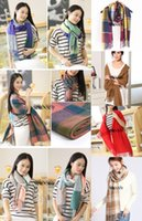 Wholesale Multi Color Fashion Cashmere Blend Long Cashmere Winter Wool Blend Soft Scarf Girl s Large Lady Plaid Shawl Women Wrap