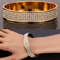 Wholesale Gorgeous Austrian Rhinestones Cuff Bracelets Women s K Real Gold Plated High Quality Big Bangles