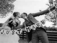 Wholesale Personalized JUST MARRIED Wedding Banner Party Decoration Bunting Garland Western cm Wedding Banner Wedding Sign Photo Prop SKY065