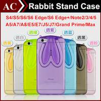 ear covers - Qute D Cartoon Rabbit Ear Soft Clear Stand Case For Galaxy A5 A7 A8 E5 E7 J5 J7 Grand Prime G530 Max G7200 Bunny Transparent Folding Cover