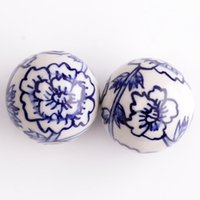 ceramic beads flower - 30pcs Blue and White Color Ceramic Porcelain Handcraft mm Big Round Flower Spacer Loose Beads Fit Necklace Bracelet Jewelry DH CH926