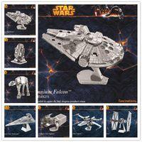 Wholesale Nano Puzzles Star Wars D metal model DIY Millennium Falcon X WING ATAT Mini Gift to children Originality LA161