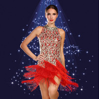 ballroom dresses - 2015 Latin Dress Sexy Tassel Cheongsam Lace women Latin Ballroom Dress Adult Stage Costumes Dancewear Ballroom Sequins Fringe Latin Dresses