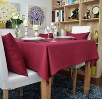 Wholesale Solid Red Colored Thick Cotton Table Cloths Table Cover Restaurant Dining table Coffee Table Cloth Christmas Decorations Red Various Size