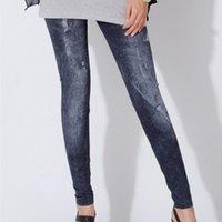 Cheap Women Leggings High Waist Stretched Fake Denim Skinny Leggings Clothing Punk Women Fitness Leggings Plus Size 1412044