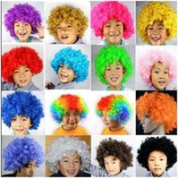 Wholesale 50pcs CCA2132 Clown Wig Party Wigs Masquerade Halloween Christmas Explosion Head Colorful Ball fan Wigs For Kids Carnival Party Wigs