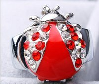 beetle battery - Fashion quartz design charming diamante Animation cartoon cute beetle Flip clock Stainless steel students Ring watch