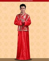Wholesale NEW Chinese Traditional Bridegroom Clothes Tang Suit Embroidery Ancient Costume Classical Tailcoat Vintage Groom Wear