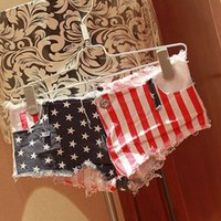 american flag denim shorts - New Arrival PC Sexy American US Flag Mini Shorts Jeans Hot Denim Low Waist for girl fashion Whloesale