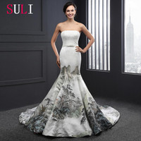 autumn landscape pictures - Strapless Colorful Mermaid Wedding Dresses Bridal Gowns Long Backless Wedding Ball Gowns Lace Up Manual China Landscape Painting SL2607