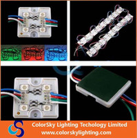 al por mayor 1w led rojo-Cuadrado 4 LEDS 5050 SMD Led Módulos Alta luminosidad 1W DC 12V para luces de anuncio Caliente / frío Blanco Rojo Azul Verde RGB Impermeable