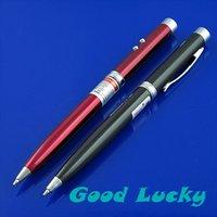 Cheap Wholesale-Mini 3 in 1 LED Flashlight Light Lamp New + Red Black Laser Ballpoint Pen DL070 5pcs lot
