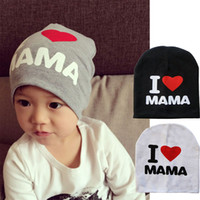 Wholesale cute Q New Spring Autumn Baby Knitted Warm Cotton Beanie Hat For Toddler Baby Kids Girl Boy I LOVE PAPA MAMA Print Baby Hats