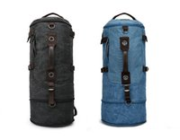 Wholesale barrel canvas travel bag men leisure sports backpack large luggage bag outdoor durable hiking knapsack colors