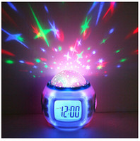 Wholesale Colorful LED Music Alarm Clock Shine Light Star Projection Perpetual Calendar Digital Temperature Disply Christmas Gift MOQ PC Free Ship