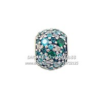 Wholesale NEW S925 Sterling Silver Charm Beads Ocean Mosaic Pavé Lights Charm Fits European Jewelry Bracelets Necklaces Pendant BE255