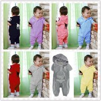 Wholesale Retail Baby romper Infant One Piece short sleeve newborn hooded jumpsuit summer style brand baby girl boy clothing HX