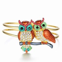 Wholesale Classic Gold Plated Cuff Bracelet Bangle Couple Owl Crystal Jewelry Women s Double Buckle Bracelets Christmas Decoration Gift
