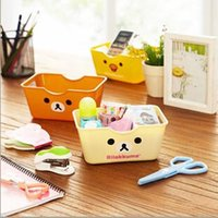 Wholesale Free ship pc Cute cartoon easily bear square desktop receive sundry basket Storage Baskets order lt no tracking