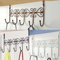 Wholesale Clothes Bathroom Kitchen Hat Towel Hanger Over Door Hanger Hook Hanging Iron Rack Holder