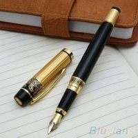 Wholesale 901 Hero Fountain Pen Meduim Nib Metal Plastic Golden Black Color Sign Pens Q6K
