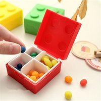 Cheap 4 pieces lot Colorful Bricks Mini Pill Case Container Mixed Candy Jewelry Tablet Sorter Box Organizer Health Care