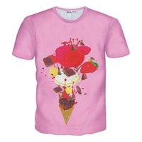 Crème glacée animale Avis-T-shirts femmes / hommes Glaces T-shirt t-shirt imprimé peinture rose casual chemise à manches courtes été 3d Harajuku T-shirts