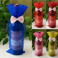 Wholesale Cheap wine bags wine sets gauze wedding wine gift bags gift bags beam port transparent yarn bags
