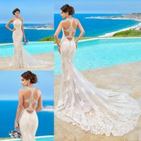 Wholesale Kitty Chen Wedding Dresses Lace Appliqued Halter Sleeveless Beach Wedding Dress Sweep Train Mermaid Ball Gown For Bride