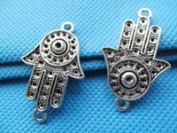 antique jewellry - 100pcs x35mm Antique Silver Sideway The hand of Fatima Hamsa Connector Pendant Charm Finding DIY Accessory Jewellry Making