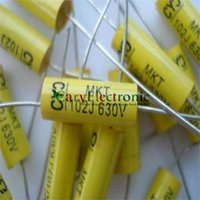 Wholesale and retail long leads yellow Axial Polyester Film Capacitors electronics uF V fr tube amps audio