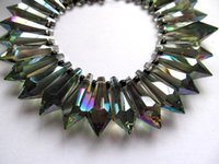 Wholesale high quality x36mm Crystal like Swarovski drop cube Faceted AB mystic rainbow beads