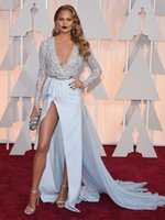 Wholesale 2015 Chrissy Teigen Celebrity Dresses the th Oscar Academy Award See Through Lace Hi Lo Ball Gowns Split Prom Dresses with Long Sleeves