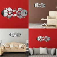 Cheap US Stock Beautiful Design 3D 30pcs Circle Mirror Wall Stickers Acrylic Vinyl Decal Home Office Art Decor New Arrvial