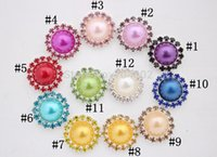 Wholesale Newest multicolor pearl rhinestone button diamante for wedding hair flower scrapbooking accessory Freeshipping PJB29