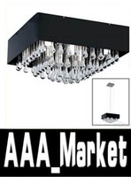 Cheap New Contemporary clear Drip Square Crystal Chandelier Light Pendant Lamp Ceiling Black Shade