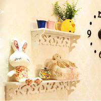 bedroom shelves - New Fashion White Wall Hanging Wood Shelf Goods Convenient Rack Storage Holder Home Bedroom Decoration