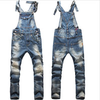 bib jeans - New True Jeans Men Original Denim Overalls European American Fashion Baggy Ripped Jeans For Men Hip Hop Pants Bib Trousers