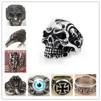 Wholesale Vintage Gothic Skull Ring Unisex NO fade Brand Fashion Jewelry L Stainless Steel Rings Punk Style Jewelry Exquisite Mix Order