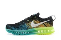 Wholesale Nike Men s Flyknit Air Max Running Shoes A Black White Turbo Green Volt