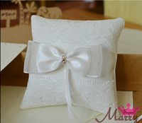 Cheap 2015 New Style Designer Wedding White Lace Ring Pillow Crystal Rhinestone Beaded Stain Bow Bearer Ring Box Accessories Suppliers Ring Pillow
