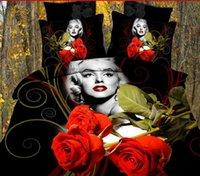 Cheap Marilyn monroe bedding Red flower comforter sets BIG ROSE 4pc bedding set 3d bedlinen queen comforter set Quilt cover sets